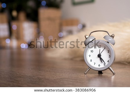 New year christmas clock  on abstract background - stock photo
