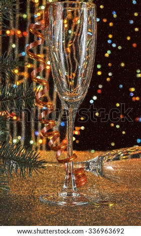 New Year. Christmas. Empty champagne glasses. Bokeh and blur. Christmas Tree.