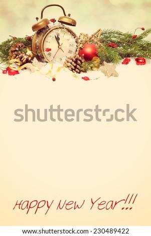 new year clock before midnight - stock photo