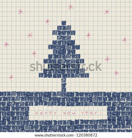 New year concept. Abstract doodles. Raster version, vector file available in portfolio. - stock photo