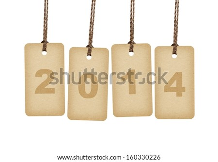 New Year 2014 concept. Brown tags isolated on white  - stock photo