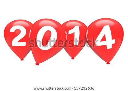 New Year concept. Red balloons with 2014 sign on a white background