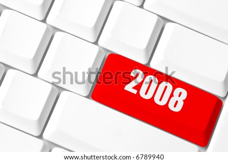 new year concept with white key-board