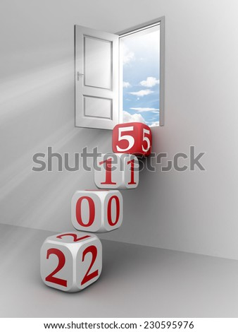 new year 2015 conceptual door with red and white dice steps - stock photo