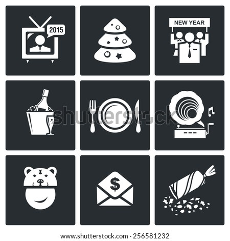 New year corporate icons set - stock photo