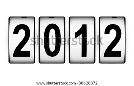 New Year 2012 counter isolated on white background - stock photo