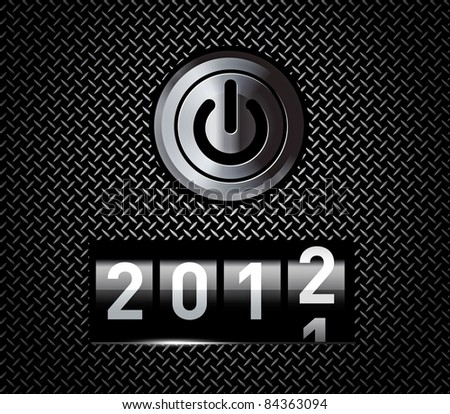 New Year counter 2012 on black metal pattern with power button - stock photo