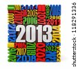 New year 2013.cube built from numbers. 3d - stock photo