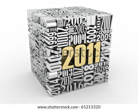 New year 2011. Cube consisting of the numbers. 3d