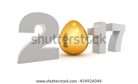 New 2017 year 3D figures with the golden egg instead O. 3D rendering. - stock photo