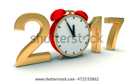 New year 2017 3d illustration with red clock