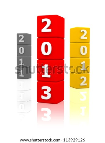New year 2013 3d render - stock photo
