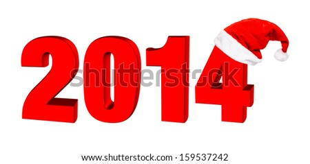 New year 2014, 3D text in a hat of Santa Claus - stock photo