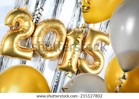 New Year 2015 decorated with balloons - stock photo