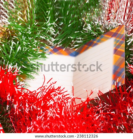 New Year Decoration and blank love letter - stock photo