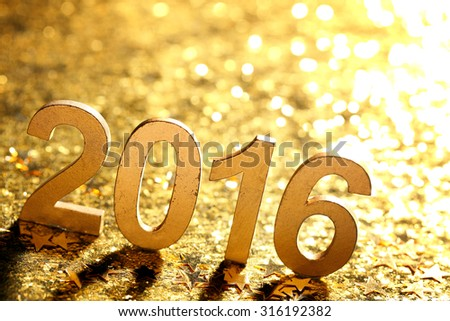 New year decoration,Closeup on 2016. - stock photo