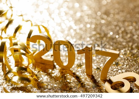 New year decoration,Closeup on 2017.