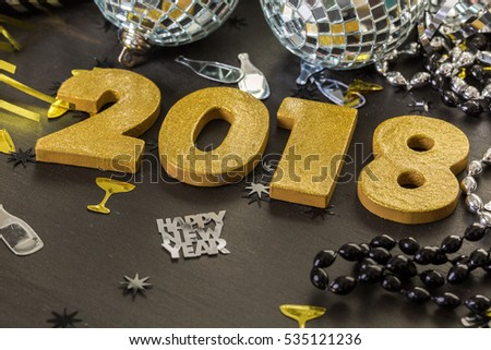 New year decoration. Closeup on golden 2018.