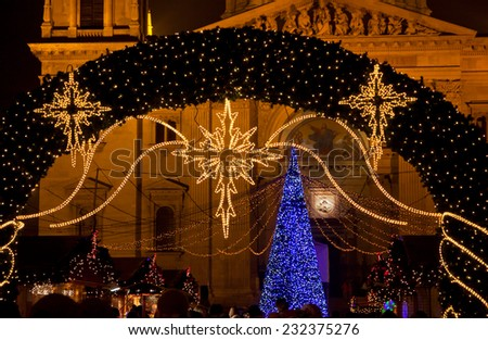 New Year decoration details on the street of Budapest city, Hungary - stock photo