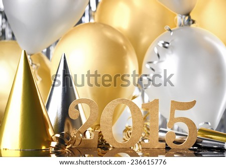 New Year 2015 decoration with balloons - stock photo