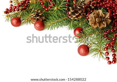 New year decorations on white background - stock photo
