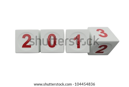 New Year 2013 dice on white background