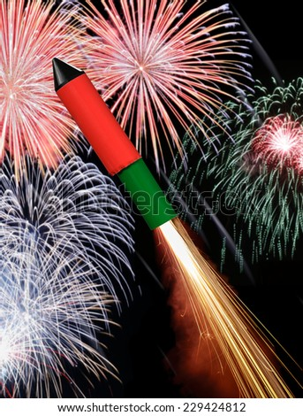 New year eve rocket on its way to sky fireworks - stock photo