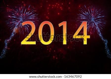 New Year 2014 fireworks - stock photo