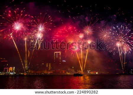 New Year Fireworks along Victoria Harbor in Hong Kong.  - stock photo
