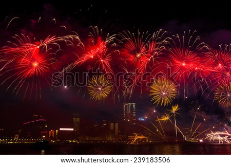 New Year Fireworks at Victoria Harbor in Hong Kong.  - stock photo