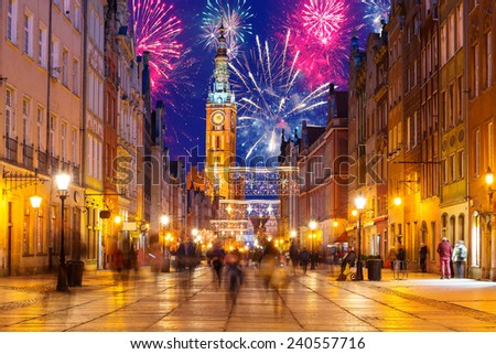 New Year fireworks display in Gdansk, Poland  - stock photo