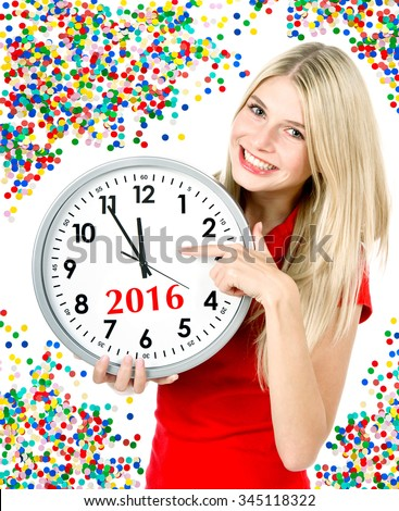 New Year 2016. Five to twelve. Young beautiful woman with big clock and party decoration - stock photo