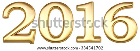 new 2016 year from gold. isolated on white. - stock photo