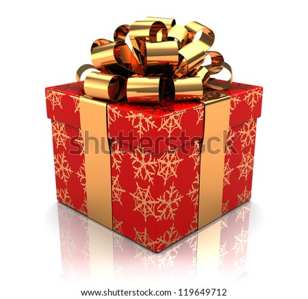 New year gift over white background, 3d image - stock photo