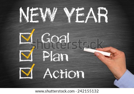 New Year - Goal Plan Action - stock photo