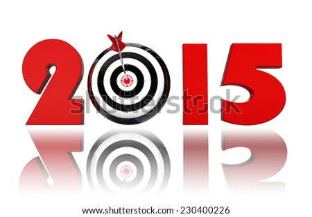 new year 2015 goal target on white background - stock photo