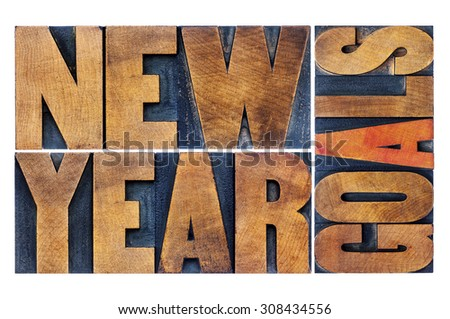 New Year goals - resolution concept - isolated word abstract  in letterpress wood type printing blocks stained by color inks - stock photo