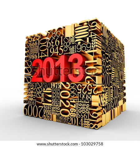 New year 2013. Golden Cube of many year numbers.