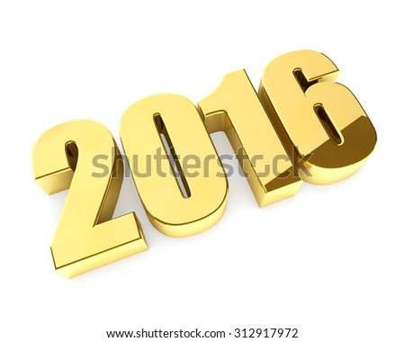 New 2016 year golden 3D figures isolated on white background. - stock photo