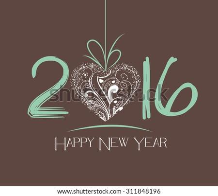 New Year 2016 greeting card - stock photo
