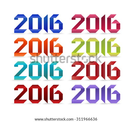 New 2016 year greeting card made in colorful origami style - stock photo