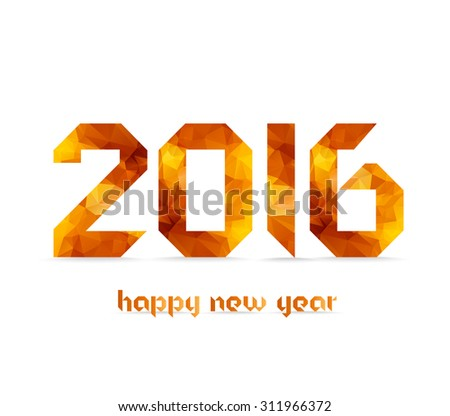 New 2016 year greeting card made in origami and gold geometrical style - stock photo