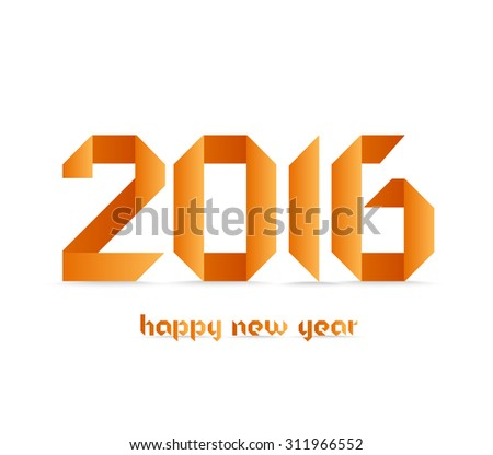 New 2016 year greeting card made in origami style - stock photo