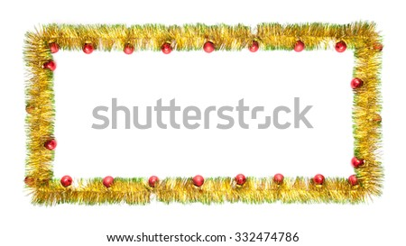 New year greeting card made of yellow and green tinsel frame with red christmas balls  - stock photo