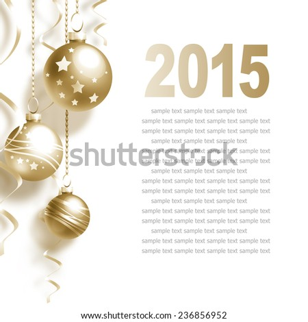 New Year Greeting Card with Christmas balls and place for text - stock photo