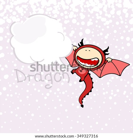 New year greeting card with the Dragon and speech bubble window for your text (raster version)
