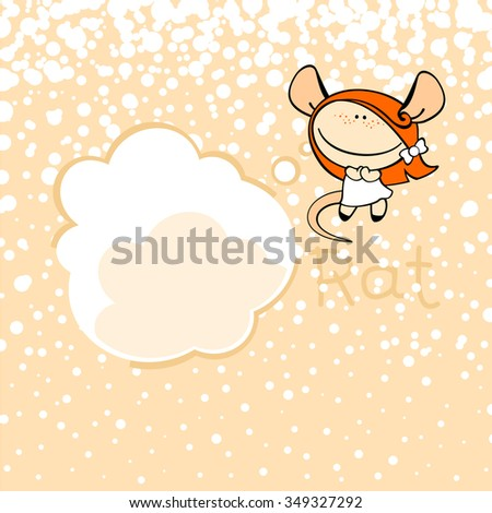 New Year Greeting Card Rat Thought Stock Illustration 349327292 ...