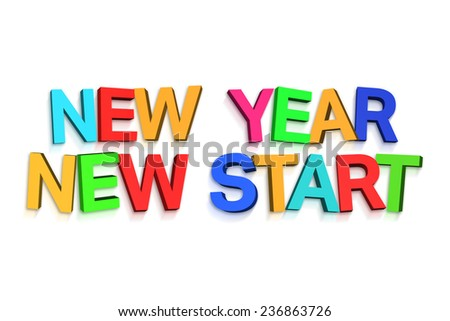 New year greeting in colourful letters on white background