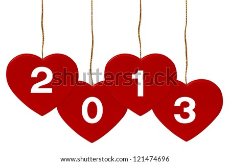 New Year 2013 Heart on white background - stock photo