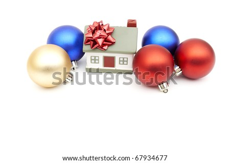 new year home and christmass ball isolated on white - stock photo